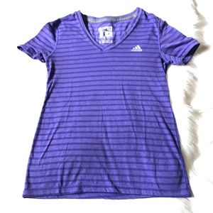 Adidas Climalite Ultimate V-Neck Striped Tee, S